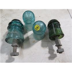TELEPHONE INSULATORS (REMINGTON & BROOKFIELD) *2 GREEN W/SCREWS IN HOLDERS, 2 LIGHT GREEN*
