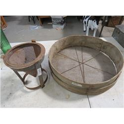 "2 SIEVES (METAL 8½"" H), *WOODEN 18"" ACROSS*"