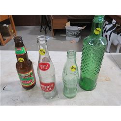 GLASS BOTTLES - PILSNER, DOUBLE COLA, COKE *GREEN* , LIQUOR BOTTLE *GREEN* (QTY 4)