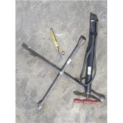 TIRE WRENCH, GAUGE & TIRE PUMP