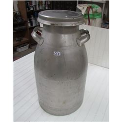 10 GAL. STAINLESS STEEL CREAM CAN W/LID (MADE BY FIRESTONE, SANALOY)
