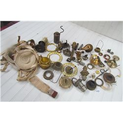 LOT OF LAMP PARTS, RUNNERS, WICKS, ETC. (OVER 50 PCS)