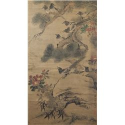 Chinese Watercolorr Silk Scroll Signed by Artist