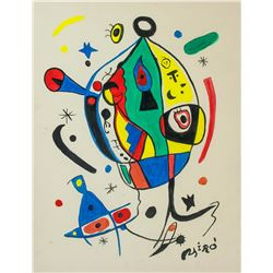 Spanish Surrealist Gouache/Paper Joan Miro