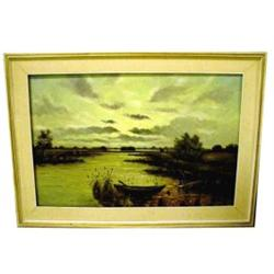 Framed signed N Noran oil on canvas- lake scene 24 x  36
