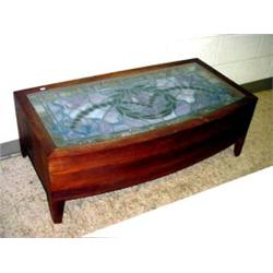 Coffee Table With Stained Glass Window Insert Approx 3 1 2 39