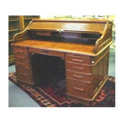 Indianapolis Cabinet Co oak roll top desk from GNRY   office