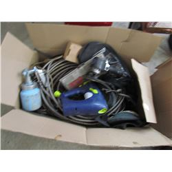 LOT OF SHOP PCS (RIVETER, ELECTRIC PAINT SPRAYER, ORBITAL AIR SANDER)
