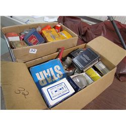 2 BOXES SPARK PLUGS, NUTS, BOLTS, RIVETER