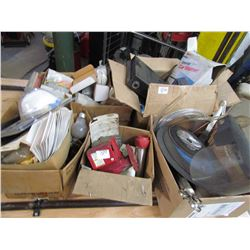 LOT OF ELECTRIC CAR WARMER, CUT OFF BLADES, BRUSHES, FIBERGLASS, ETC)