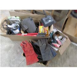 LOT OF DOOR KNOBS, WIRING, SAFETY GLASS, WELDING GLOVES, & HELMET, ETC