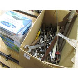 BOX OF TOOLS, WRENCHES, LAWN SEEDER