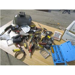 LOT OF MISC. (TOOLS, HATCHET, HELMET, WELDING MASK, SCREW DRIVERS ETC.)