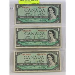 LOT OF 3 CANADIAN 1954  $1 BILLS, REPLACEMENT NOTE