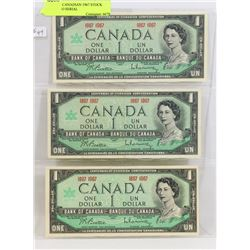 LOT OF 3 CANADIAN 1967 STOCK SHEET, NO SERIAL