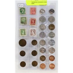 LOT OF ASSORTED CANADIAN COINS AND STAMPS