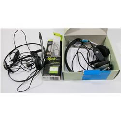 BAG OF ASSORTED HEADPHONES AND HEADSETS