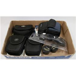 FLAT OF ASSORTED CAMERA POUCHES, GUITAR HUMIDIFIER