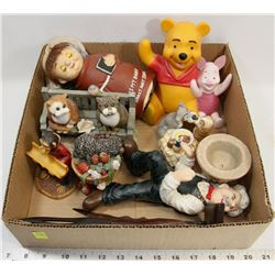 FLAT OF ASSORTED DECORATIVE FIGURES INCLUDING