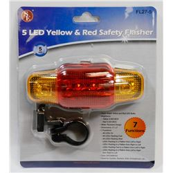 NEW 5 LED YELLOW & RED SAFETY FLASHER