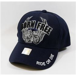 """NEW """"BORN FREE-RIDE OR DIE"""" ADJUSTABLE BALL CAP"""