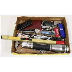 FLAT OF COLLECTIBLE LIGHTERS ,POCKET KNIVES AND MO