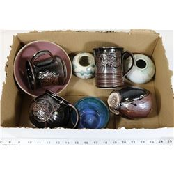 BOX OF POTTERY CUPS, OWLS
