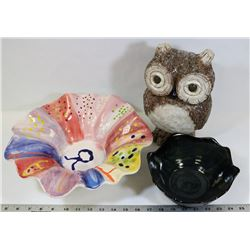 BOX OF POTTERY OWL, BOWLS