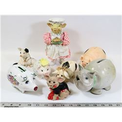 LOT OF PIGGY BANKS AND PIGS FIGURES