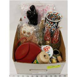 BOX W/NEW ITEMS INCL. RED JEWELRY BOX,