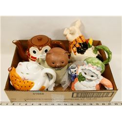 BOX OF ANIMAL TEAPOTS