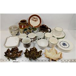 BOX OF ANTIQUE CUPS AND GLASSWARE,