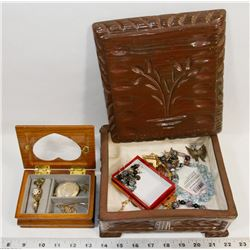 2 JEWELRY BOXES WITH CONTENTS.