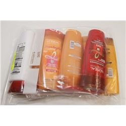 BAG OF ASSORTED L'OREAL SHAMPOO AND CONDITIONER.
