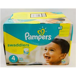 BOX OF PAMPERS SWADDLERS SIZE 4, 70 IN BOX.