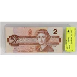 1986 CANADIAN ROBIN EBX $2.00 BANKNOTE