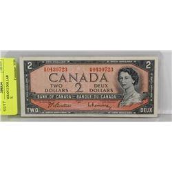 1954 CANADIAN 2 DOLLAR BANKNOTE.