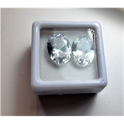 16)  LOT OF 2 MATCHED OVAL WHITE ZIRCON
