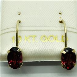 8) 10K YELLOW GOLD GARNET LEVERBACK EARRINGS