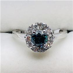 9) 10K WHITE GOLD BLUE & WHITE DIAMOND RING