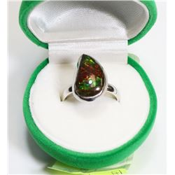 16) STERLING SILVER AMMOLITE RING