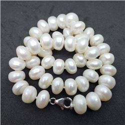 17) STERLING SILVER FRESHWATER PEARL NECKLACE