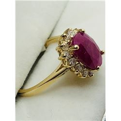 19) 14K YELLOW GOLD RUBY & DIAMONDS RING