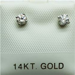 20) 14K WHITE GOLD DIAMOND EARRINGS
