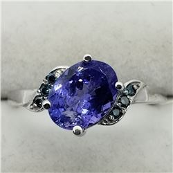 25) 10K WHITE GOLD TANZANITE & BLUE DIAMONDS RING