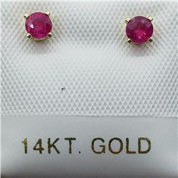 26) 14K YELLOW GOLD BURMESE RUBY EARRINGS