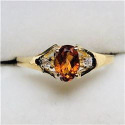 30) 10K YELLOW GOLD CITRINE & DIAMONDS RING