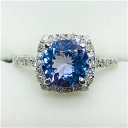 32) 14K WHITE GOLD TANZANITE & DIAMONDS RING