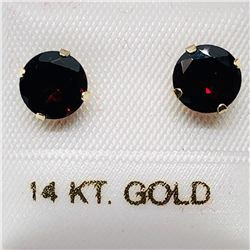 33) 14K YELLOW GOLD GARNET EARRINGS