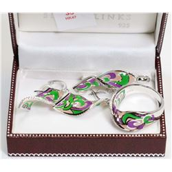 35) STERLING SILVER ENAMEL 4PC SET